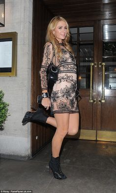 Paris Hilton didnt show any signs of heartbreak about the split while she was pictured party hopping in London on Wednesday night with a couple of eligible celebrity batchelors. Paris Hilton Style, Paris Hilton Photos, Star Hollywood, Sheer Mini Dress, Star Fashion, Womens Fashion, In Pantyhose, Celebs, Celebrities