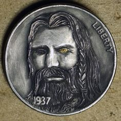 Marcus Hunt - Odin Hobo Nickel, Coin Art, Coin Collecting, Edc, Coins, Carving, Drawings, Rooms, Wood Carvings