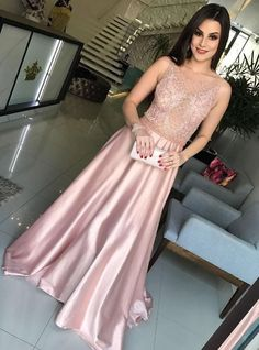 Unique Prom Dresses, 2020 New Designer Elastic Satin A Line Pink See Through Beaded Prom Dress, There are long prom gowns and knee-length 2020 prom dresses in this collection that create an elegant and glamorous look Pink Prom Dresses, Long Prom Gowns, A Line Prom Dresses, Formal Gowns, Sexy Dresses, Homecoming Dresses, Evening Dresses, Fashion Dresses, Bridesmaid Dresses