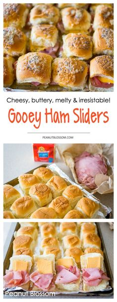 These irresistible melty, gooey ham and cheese sliders are perfect for a party! Easy to make ahead a pan or two for a big crowd and everyone loves them. Great for a football party, holiday party, and makes great use of leftover ham from Easter or Christmas!