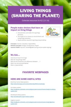 Living Things (Sharing the Planet) lots of links/activities/videos