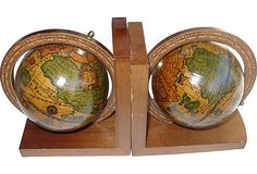 Vintage pair of old world map Italian bookends; globes rotate.
