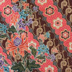pink and brown flowers print Thai traditional by TheThailand, $15.00