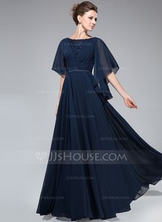 A-Line/Princess Scoop Neck Floor-Length Chiffon Charmeuse Mother of the Bride Dr. - A-Line/Princess Scoop Neck Floor-Length Chiffon Charmeuse Mother of the Bride Dress With Ruffle Lac - Trendy Dresses, Nice Dresses, Fashion Dresses, Dresses With Sleeves, Formal Dresses, Lace Beading, Robes D'occasion, Mother Of The Bride Gown, Maxi Dresses