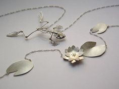 Susan Elnora Frog & Lily Pad Necklace fabricated from recycled materials