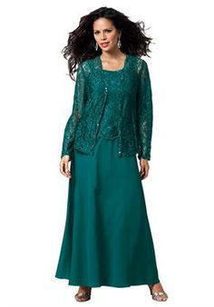 Lace and Chiffon Jacket Dress   Plus Size Sets   Roamans - comes in Champagne color $132 to $199