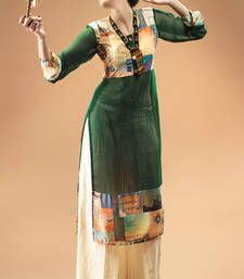 Buy Green Georgette Digital Printed Kurti kurtas-and-kurti online
