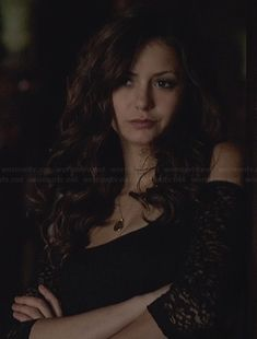 Katherine's black lace top with cutout shoulders on The Vampire Diaries.  Outfit Details: http://wornontv.net/23880/ #TheVampireDiaries