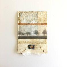 Originele collage mixed media op aquarel papier ingelijst