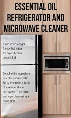 ~ Essential oil refrigerator and microwave cleaner + lots of other cleaning recipes using essential oils