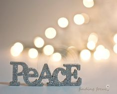 Peace Photo, Silver Gold Christmas Champagne Holiday Lights, Golden Natural Pale Decor Bokeh Glitter Light Word Art Calm Neutral Photograph on Etsy, $19.55 CAD