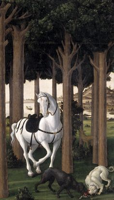 Sandro Botticelli - The Story of Nastagio degli Onesti. The Infernal Hunt. Detail. 1483