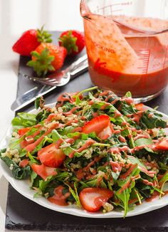 Clean Eating Strawberry Quinoa Kale Salad (ByiFOODreal) Hey guys. My name is Olena and I blog atiFOODreal aboutClean Eating Recipes. Today I will be diluting Karina's sea of Reese's cookies, saucy chicken and gooey blondies with my vegan clean eating salad with quinoa, kale and strawberries. I hope I didn't lose you right there because...
