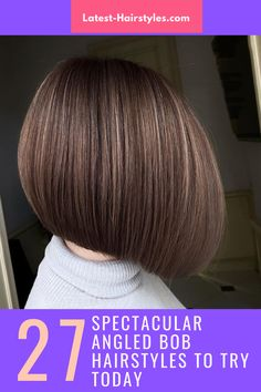 """If there's one sassy look, it's the angled bob. Not only is the angled bob seriously hairstastic, it also never goes out of style! If you have """"rocking the angled bob"""" on your bucket list, go ahead and pick one out from our collection of the hottest angled bob hairstyles we've ever seen. (Photo credit IG @gulevich.vladimir) Angled Bob Hairstyles, Latest Hairstyles, Angled Bobs, Out Of Style, Pick One, Short Hair Cuts, Hair Trends, Photo Credit, Angles"""