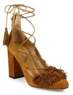 dedb1d505403 Wild fringed suede lace-up block-heel pumps by Aquazzura. Boho-chic suede  lace-up sandal with fringed panel. Self-covered block heel