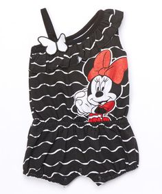Look what I found on #zulily! Black Minnie Romper - Infant by Minnie Mouse #zulilyfinds