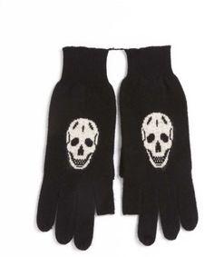 Skull Cashmere Luther Fingerless Thumb Gloves