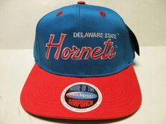 NCAA Delaware State Hornets Script Royal Orange 2 Tone Snapback Cap
