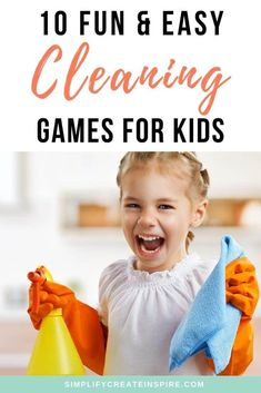 Add fun to the weekly chores with these cleaning games to motivate even the most stubborn child to get their tasks done! Make cleaning fun for your kids with these easy games that will get them laughing while they clean their mess and do their chores. 10 easy cleaning games to play as a family.