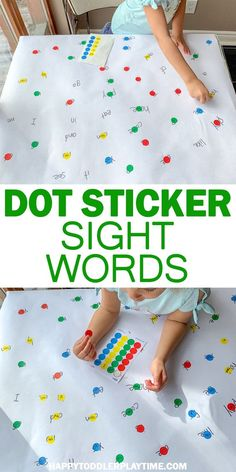 Dot Stickers Sight Word Match | HAPPY TODDLER PLAYTIME Looking for a fun and easy way to practice sight words? Check out this easy to set up sight word game using dot stickers! #kindergarten #sightwords