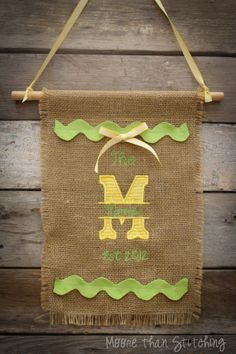 "Burlap Door Flag Personalized with Name and Initial 9""x13"" on Etsy, $18.00"