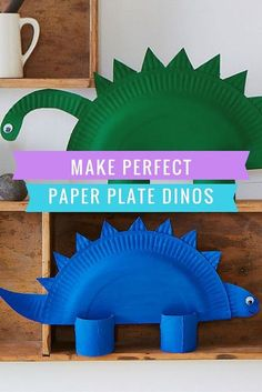 These fun and friendly dinos are easy to put together with a few crafting essentials. Have a go next time you're stuck for a fun afternoon activity to do with the kids! #artsandcraftsfortoddlers,