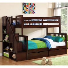 Darren Twin over Double Staircase Bunk Bed I want some form of a bunkbed in my new room Staircase Bunk Bed, Bunk Beds With Stairs, Double Staircase, Cool Bunk Beds, Kids Bunk Beds, Boys Bedroom Ideas With Bunk Beds, Girls Bedroom, Bedroom Decor, Bedrooms