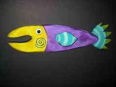 Wall Fish 6 x 18 Quirky Art, Whimsical Art, Stone Crafts, Wood Crafts, Beach Crafts, Fun Crafts, Painted Rocks, Painted Fish, Driftwood Fish
