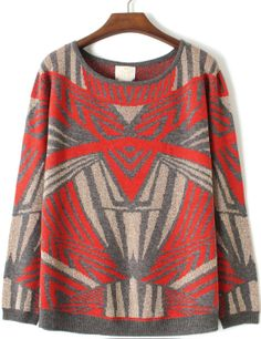 Grey Orange Long Sleeve Autobots Pattern Sweater - Sheinside.com