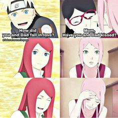Curious son and daughter  Mama Kushina and Mama Sakura are so similar and adorable ❤️❤️❤️
