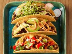 50 Tacos : Recipes and Cooking : Food Network. Its not weird if tacos are a favorite food, right? I Love Food, Good Food, Yummy Food, Mexican Dishes, Mexican Food Recipes, Wing Recipes, Food For Thought, Food Network Recipes, Cooking Recipes