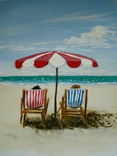 Beach Chairs 5 dollar painting by MARVINSTUDIO on Etsy, $5.20