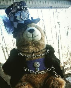 Steampunk bear available in my etsy store #store #revolthipchains #kool4skool #american #steampunk #steampunkjewelry #steampunkfashion #steampunkhats #steampunk #loveyourbody #bodyart #walletchains #etsy #teddybear