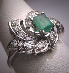 Hey, I found this really awesome Etsy listing at https://www.etsy.com/listing/215860394/antique-emerald-diamond-ring-vintage-art