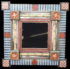Hand Painted MIrror with Wood and Mexican Tin by nataliespradlin, $300.00