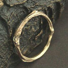 14K Gold Twig Ring Handcast echte aftakkingen gouden Twig