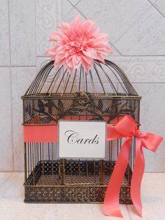 Birdcage Wedding Card Holder / Card Box / Wedding by YesMoreFunk, $63.00
