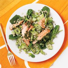 Herb Roasted Salmon and Barley Salad from WomansDay.com #vegetables #protein #myplate