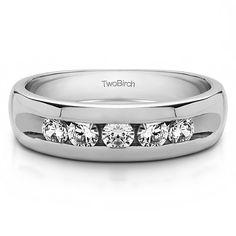 Charles Colvard Sterling Silver Men's 5/8ct TGW Moissanite Wedding Ring (Sterling Silver, Size 5.5), White