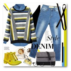 """""""DENIM style"""" by svijetlana ❤ liked on Polyvore featuring New Look, 7 Chi, GlassesUSA, Gucci, Dries Van Noten, denim and polyvoreeditorial"""