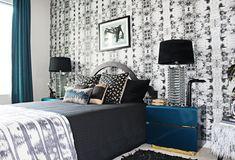 blue + black & white modern glam retro bedroom
