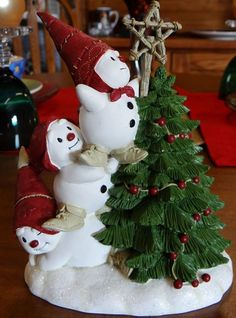 James Connors 2004 Midwest of Cannon Falls Snowmen and Tree Figurine Rare