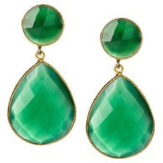 "18k Gold-clad brass double teardrop earrings with faceted gemstones in green onyx.    Product: Pair of earringsConstruction Material: 18k Gold plated brass and gemstonesColor: Green onyxFeatures: Double teardropDimensions: 1.5"" H x 0.75"" W eachCleaning and Care: Wipe clean with dry cloth"