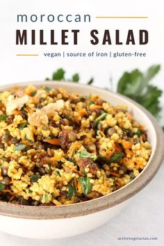 An easy weeknight dinner and/or meal prep recipe, this simple yet flavourful gluten-free dish is perfect! Moroccan Millet Salad is delicious on its own as a complete meal or served as a side with other dishes. The possibilities are endless! #glutenfree #vegan #richiniron #highprotein #plantbased #veganprotein #veganrecipe #vegandinner Easy Weeknight Dinners, Vegan Dinners, Healthy Foods To Eat, Healthy Life, Dairy Free, Gluten Free, Healthier Together, Email Subject Lines, Recipe Community
