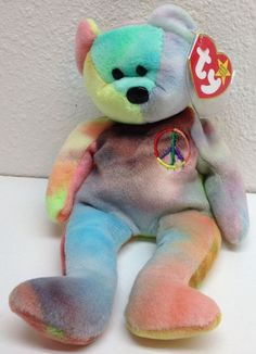 Ty Peace Beanie Baby Errored Suface and Origiinal on Hang Tag 1996 Ty Babies, Beenie Babies, Peace Beanie Baby, Ty Bears, Original Beanie Babies, Ty Beanie Boos, Childhood Toys, Hang Tags, Quilt Blocks