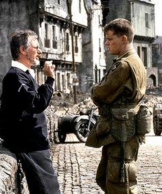 Steven Spielberg & Matt Damon on the set of Saving Private Ryan  (1998)
