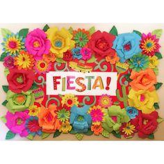 Mexican Fiesta Theme Paper Flower Backdrop