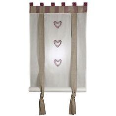 Rideau enrouleur Collection Prune  Ce store enrouleur habille les fenêtres avec beaucoup de charme.  • Store 100% coton et voile de coton