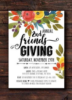 Invite your guests to thanksgiving dinner with this unique friendsgiving invitation invite featuring rustic retro watercolor flowers in red yellow and green. Thanksgiving Invitation, Thanksgiving Parties, Thanksgiving Recipes, Dinner Party Games, Dinner Menu, Dinner Ideas, Watercolor Invitations, Party Invitations, Invites