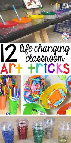 12 life changing classroom art tricks - create less mess and more art Perfect for preschool, pre-k, and kindergarten Classroom Hacks, Classroom Organisation, Room Organization, Art Classroom Decor, Art Classroom Management, Preschool Classroom Setup, Toddler Classroom, Preschool Writing, Classroom Activities